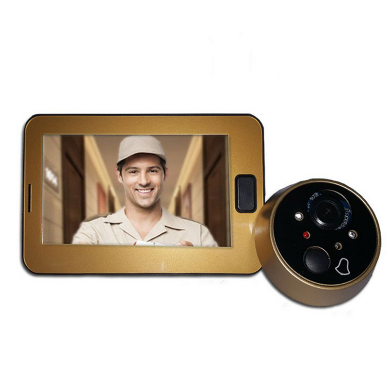 OWGYML 4.3 Inch Color Screen Door Peephole Camera Video Doorbell With LED Lights Video Door Viewer Outdoor Security Mini Camera