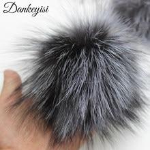DANKEYISI unids al por mayor 5 piezas 100% pompones de piel auténtica 15 cm  DIY mapache Fox Fur Pom Poms bolas de piel para somb. 7a0b12165f4b