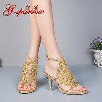 Summer Women's Bohemian Rhinestone Sandals Diamond Sexy Stiletto Sandal Discount Ladies Leather Shoes Gold Purple Silver Black