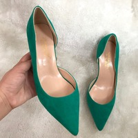 Free Shipping Real Picture AORANJIMM Pointed Toe Open In One Side Green Pink Suede Women Lady