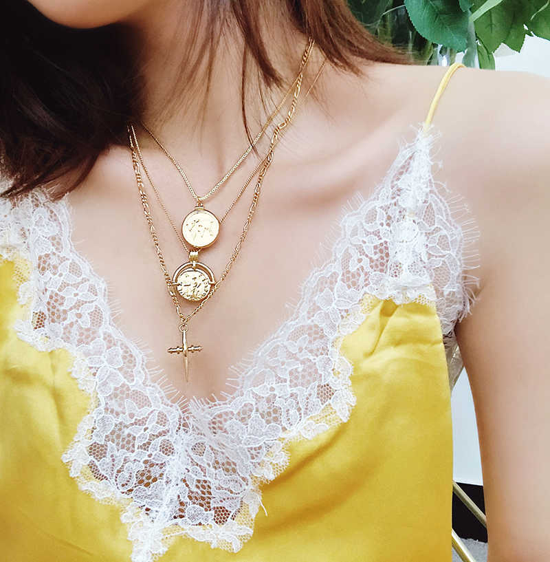 1ed419f00f90c Ancient Rome gold coin cross pendant necklace women Europe and American  coin old collar bone chain