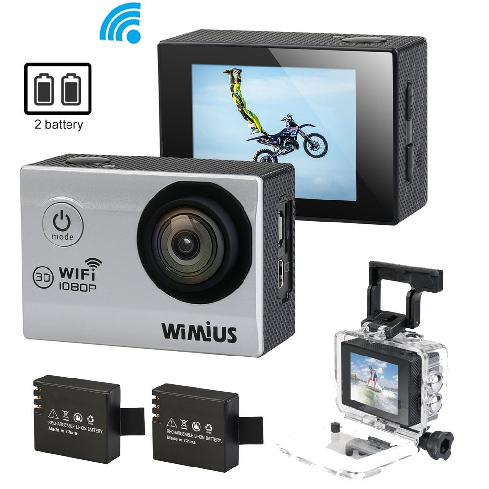 Wimius Action Cam Wifi 1080p 20 Full Hd 12mp Waterproof Camera X Pro 6s 4k 12 Mp Wide Angle Lens Cycling Diving Camara 2 Batteries Accessories In Sports Video