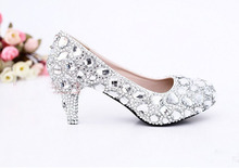 2016 New Luxury Fashion 5cm High Heel Wedding Dress Shoes Bridal Dress Shoes Crystal  Formal Dress Shoes Rhinestone Shoes