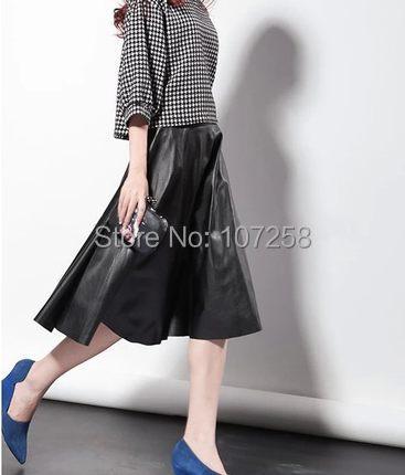 84c7bd92ba88e WBCTW 7XL Plus Size Women High Waist Faux Leather Skirt Knee length Pleated  A line PU 2018 Midi Skirt Summer Style Leather Skirt-in Skirts from Women s  ...