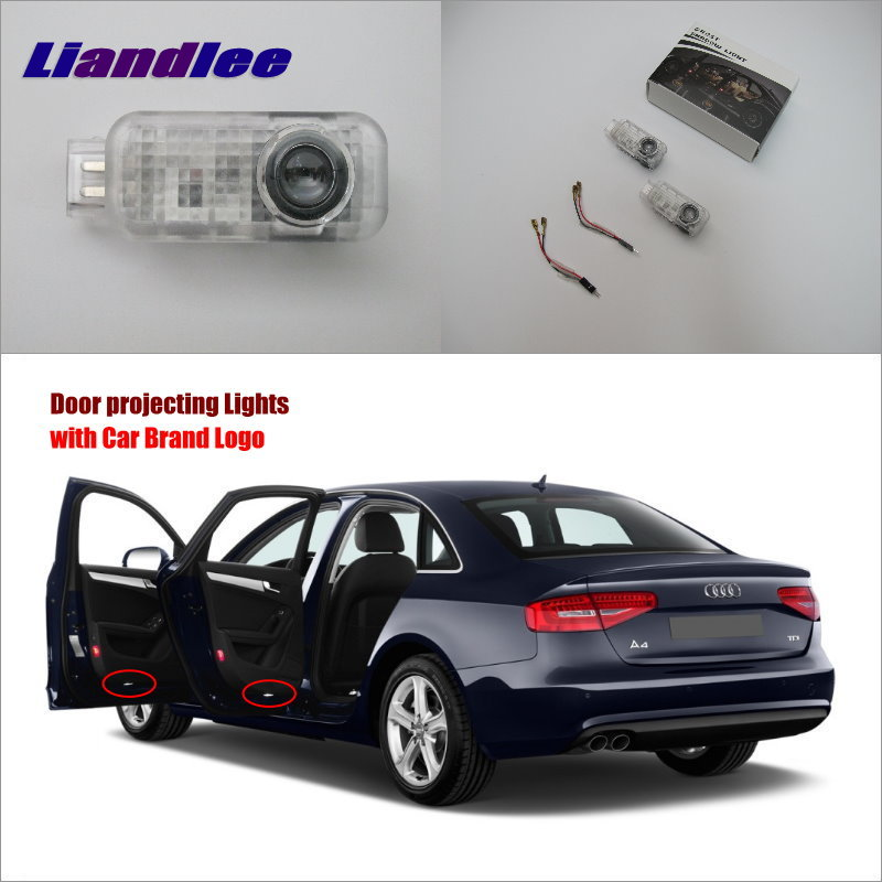 Liandlee Plug and Play Car Courtesy Doors Lights For Audi A4 2003~2008 / Brand Logo Projector Welcome Light Ghost Shadow Lamp