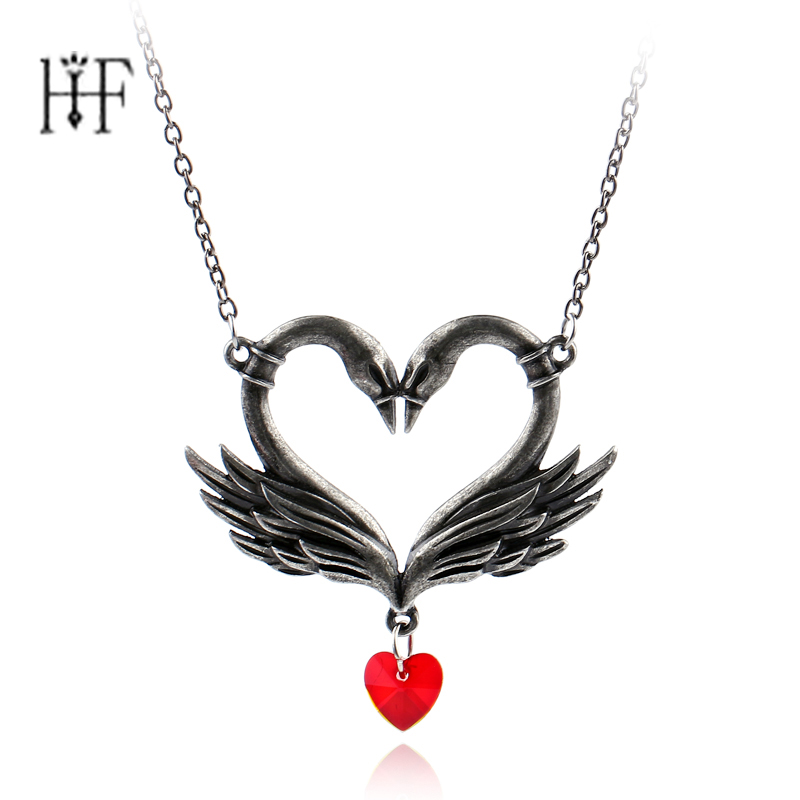 Vintage Swan Pendant Necklace for Women Jewelry Heart Hollow Swan Necklace  Xmas Gift Animal jewellery Ancient Silver Plating