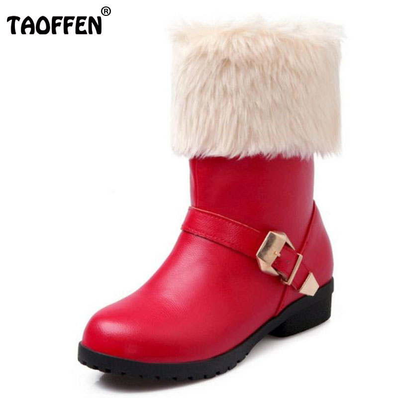 TAOFFEN Size 34-43 Women Mid Calf Boots Thick Fur Metal Heel Boots Women Warm Shoes Cold Winter Snow Botas Woman Footwears double buckle cross straps mid calf boots