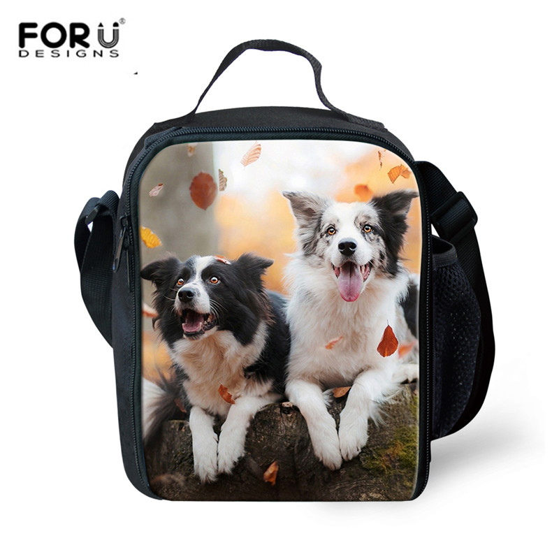 FORUDESIGNS Fashion Animal Border Collie 3D Print Lunch bag Thermal Food Picnic Lunch Bags for Women kids Men Cooler Lunch Box