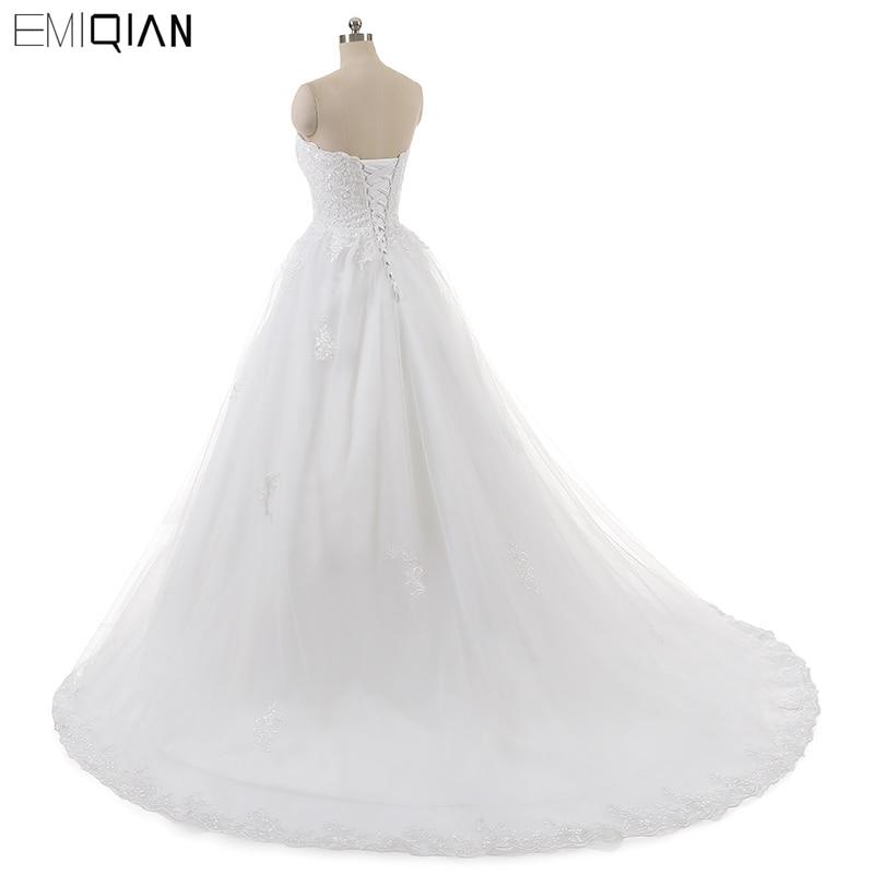 Real Photo Sleevess Vintage Blond Bröllopsklänningar 2018 En Line - Bröllopsklänningar - Foto 4