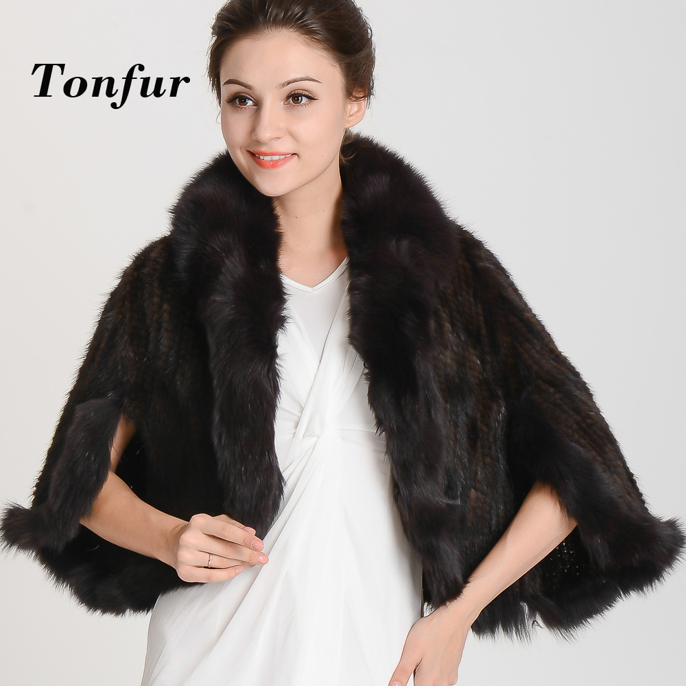 2018 New Arrival Special offer! Knitted Genuine mink fur Shawl women's Unique mink fur phocho Free shipping TBHP137