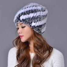 Women Hats 100% Real Rex Rabbit Brand Winter Striped Pineapple Beanies Thicken Knitted Woolen Cap Hat Ear Protect Casual Cap