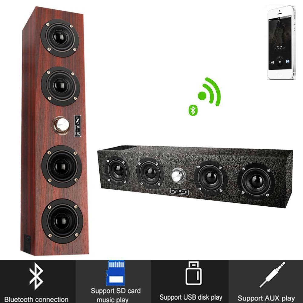 Wood Portable Wireless Bluetooth Speaker Stereo 12W System PC TV Soundbar Desktop Sound Box Column FM Radio Speaker For Computer