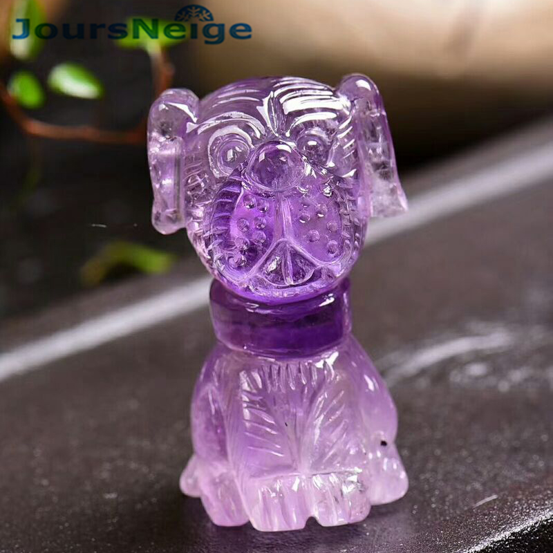 Wholesale Purple Natural Crystal Pendant Hand Carved Dog Pendant Sweater Chain Necklace Lucky for Women Men Zodiac Jewelry термокружка 0 47 л contigo huron 0552