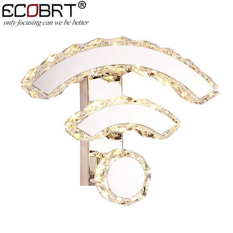 ECOBRT Luxury Modern Wall Sconces Lighting Crystal Wall lights WIFI design Bedside lamps in bedroom цена 2017