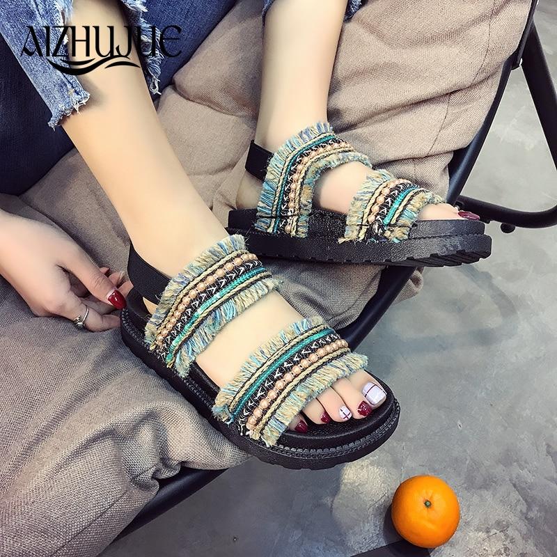 Women Sandals 2018 Summer Ethnic Bohemian Woman Pompon Sandals Gladiator Roman Retro Embroidered Shoes Women Flat Sandals ethnic embroidered black cami dress for women