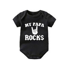 Culbutomind  Rock Black Cotton Short Sleeve Baby Bodysuit Boys Girls Clothes Funny Clothing 0~12 cm