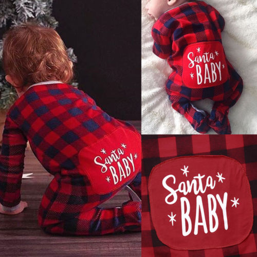 Christmas Baby Boys Girl Xmas Gifts Red Plaid   Romper   Jumpsuit Toddler Girls Kids Cotton   Rompers   Playsuit Overalls Outfit Clothes