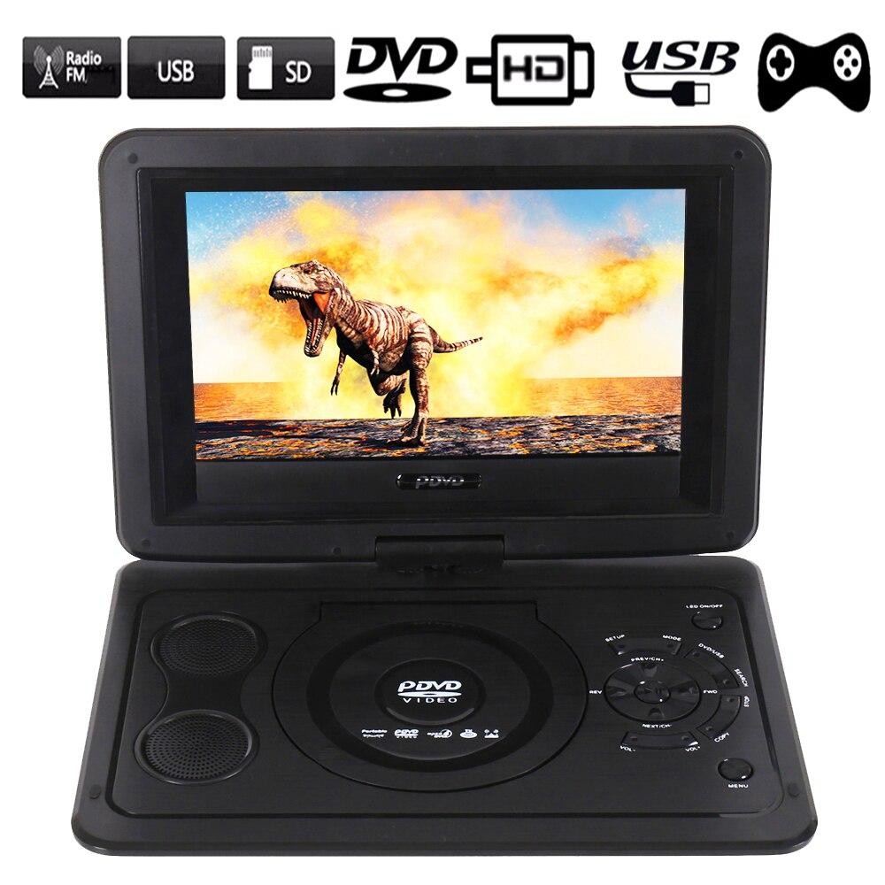 Mini leitor de Dvd portátil EU Plug 13.9 polegada HD Filmes para a TV LCD Tela Giratória Usb Móvel Carro Rotação de Multi Mídia jogo Jogar