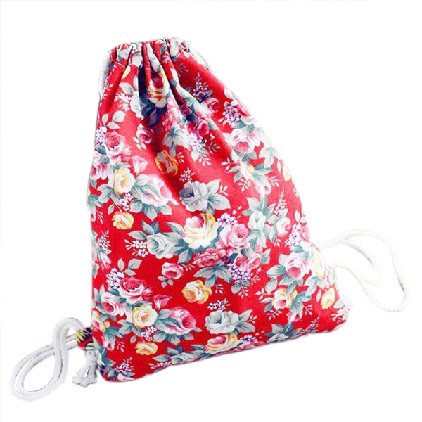 BEAU Floral Printing Canvas Backpack School Bags Drawstring Backpack Bags Red