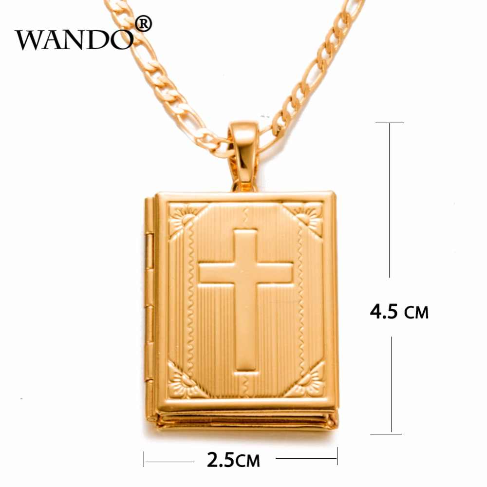 Caixa de WANDO Bíblia Cruz Pingente & Colar Cadeias Cruzes Jóias para As Mulheres homem Cristão/Presente pingente de Catolicismo P22