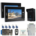 JERUAN 7`` Color Screen Video Intercom Entry DoorPhone System + 2 monitors + RFID Waterproof  Touch key Camera+Electronic lock
