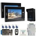 JERUAN 7`` Color Screen Video Intercom Entry DoorPhone System + 2 monitors + RFID Waterproof  Touch key Camera+Electronic lock