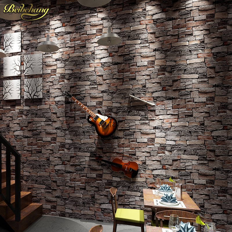 beibehang roll Chinese vintage style wallpaper popular wood brick stone wall paper home decoration 3D papel de parede roll wholesale vintage mural 3d brick stone room wallpaper vinyl waterproof embossed wall paper roll papel de parede home decor 10m