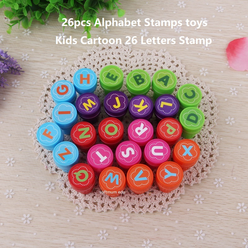 26pcs Alphabet Stamps Toys Children Cartoon 26 Letters Stamp Rubber Self Inking Child DIY Seals Toy Kids English Learning Aids