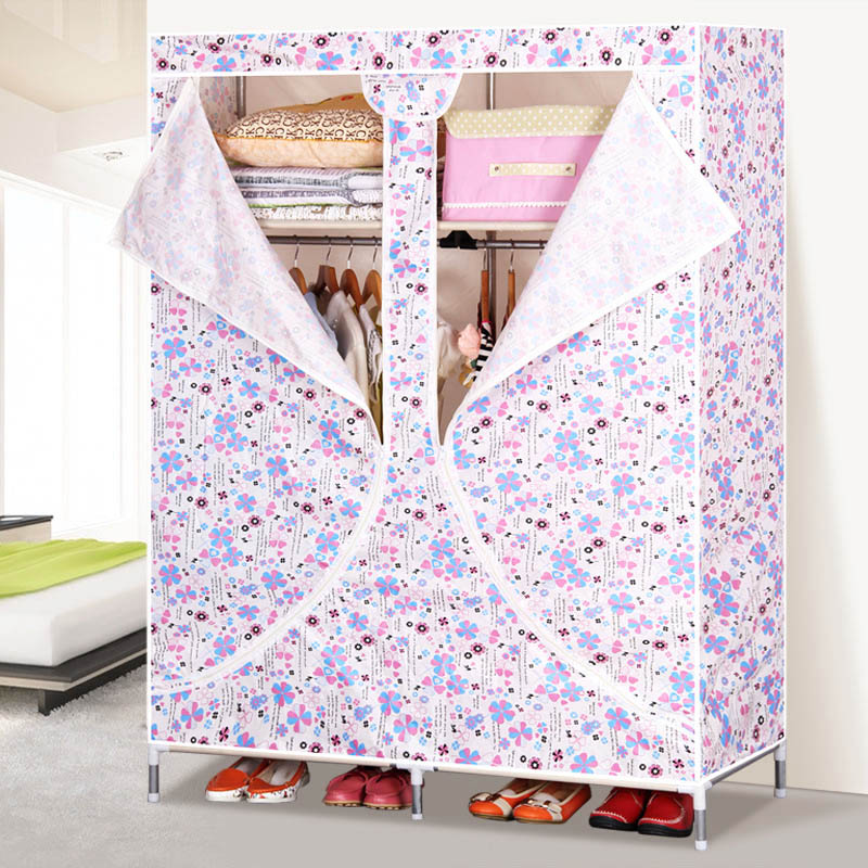 Simple and Modern 19MM Steel Pipe Cloth Wardrobe Large Capacity Oxford Cloth Wardrobe Indoor Storage Cabinet Home Furniture