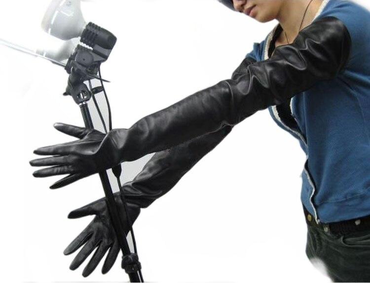 70 см (27,6 ) длинные классические простые супер длинные перчатки из натуральной кожи черные - 2