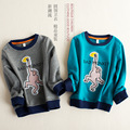 Free Shipping Kids T-shirt Baby Boy Clothing Casual Cartoon Monkey Embroidery Tops Long Sleeve Print Pullover Autumn Sweatshirts