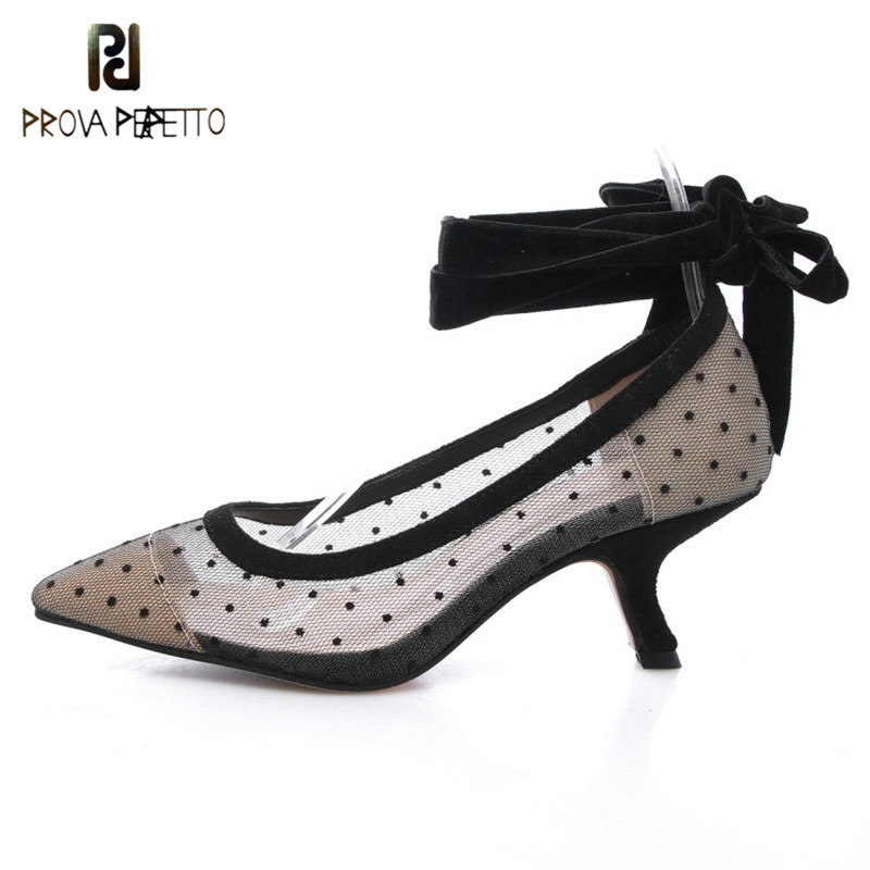 Prova Perfetto New Fashion Dot Transparent Mesh Shoes Woman Pointed Toe Strange Heel Sandals Ankle Strap High Heels Pumps Shoes new arrival pvc transparent shoes woman open toe clear strange heel pumps woman fashion party shoes