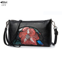 New Vintage Embossing Embossed Flower Wrist Bags Women Shoulder Crossbody Bags High Quality PU Leather Women's Handbags Gifts(China)
