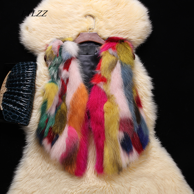 FTLZZ Real Raccoon Fur Vest Autumn Winter Women Casual Gilet Natural Fox Fur Coat Lady Genuine Raccoon Fur Vests