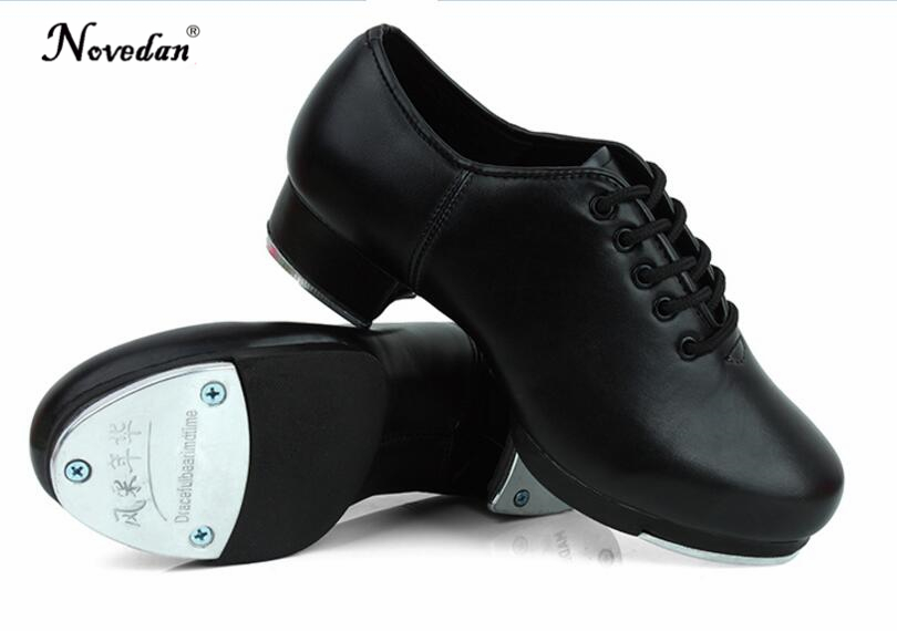 Size 27-45 Adult Men Children Boy Tap Dance Shoes Cow Leather Or PU Oxford Lace Up Dancing Shoes Girls Women Tap Dancing Shoes