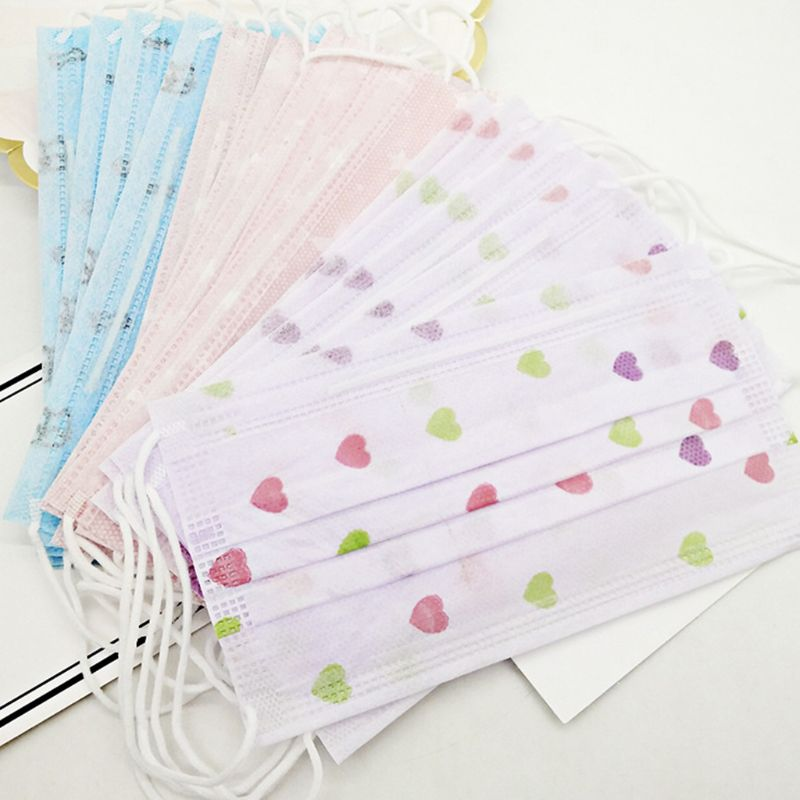 10Pcs Disposable Dustproof Mouth Mask Cute Cartoon Floral Printed 3 Layers Non-Woven Surgical Medical Earloop Mouth-Muffle