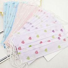 10шт одноразовые пылезащитные маски для рта милый мультфильм цветочные печатные 3 слоя нетканые