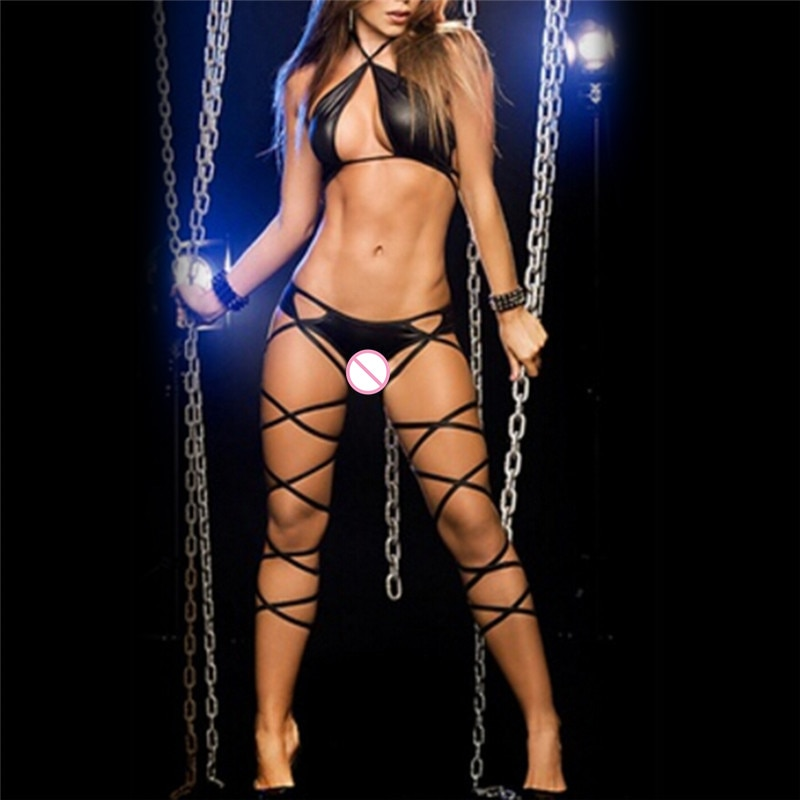 Erotic <font><b>Bodydoll</b></font> <font><b>Sexy</b></font> Underwear Black White Women Three-point Halter <font><b>Sexy</b></font> Lingerie Faux Leather Costumes image