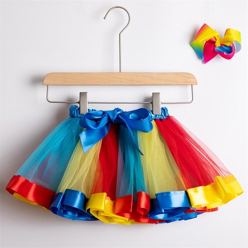 Юбка-пачка; юбки для маленьких девочек от 1 до 8 лет; юбка-американка принцессы; фатиновые юбки радужной расцветки для вечеринок и танцев; Одежда для девочек; одежда для детей - Цвет: 6