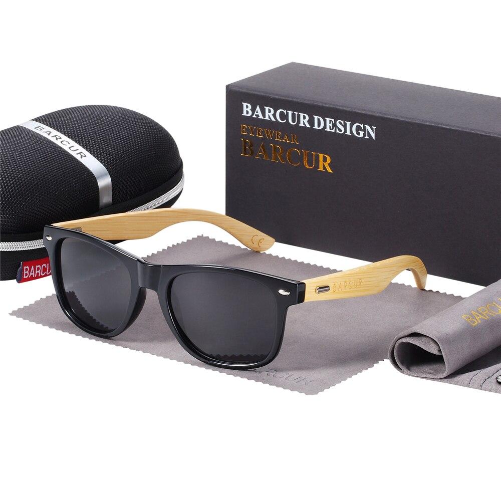 BARCUR gafas de sol polarizadas de bambú para hombre gafas de sol de madera originales de marca para mujer