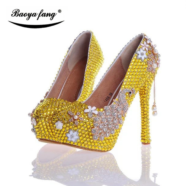 BaoYaFang New Arrival Yellow Crystal Peacock Wedding Shoes Womens High Heels Platform Laidies Pumps