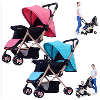 Four Wheel Stroller Convertible Handle Baby Carriage Umbrella Car Shock Absorber Flat Lying Portable Folding Baby Pram Pushchair