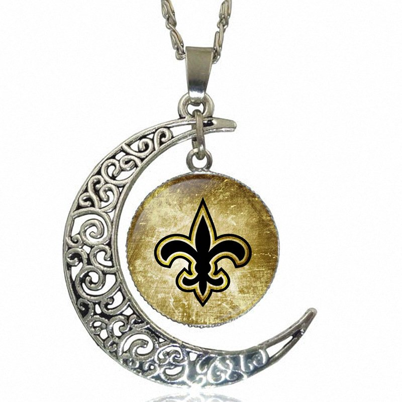 Glass Cabochon Choker Moon Pendant Necklace Silver Color Jewelry For Men Women Gift Symbol of New Orleans image