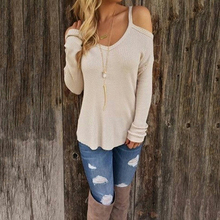Women Sexy Off Shoulder Long Sleeve Fall Sweater  Top Casual T Shirt