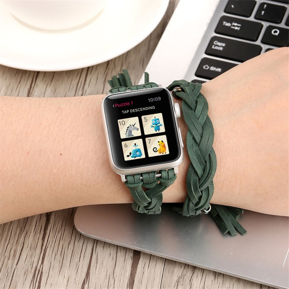 Sport Leather strap For Apple watch 4 band 44mm 40mm iwatch 5 applewatch 3 2 1 strap 42mm 38mm Bracelet pulseira Accessories in Watchbands from Watches