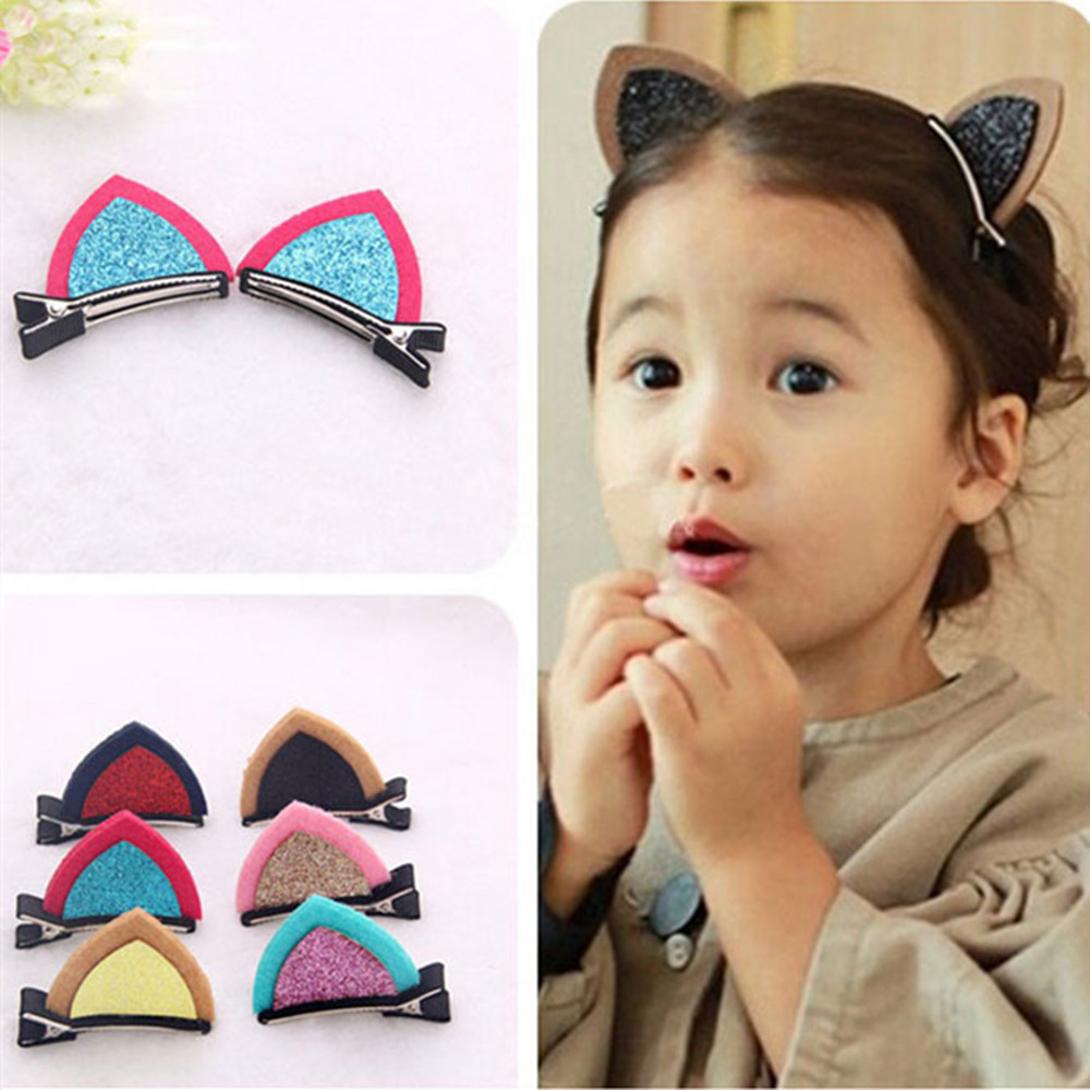 2Pcs/ Pair Clips Lovely Cat Ears Hairpin   Headwear   Children Hair Ornaments Hair Accessories Christmas Gift Cloth Alloy