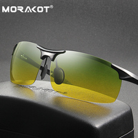 MORAKOT Mens Polarized Day Night Dual use Driving Sunglasses UV400 Sport Driving Goggles Night Vision Anti Glare Glasses P003218
