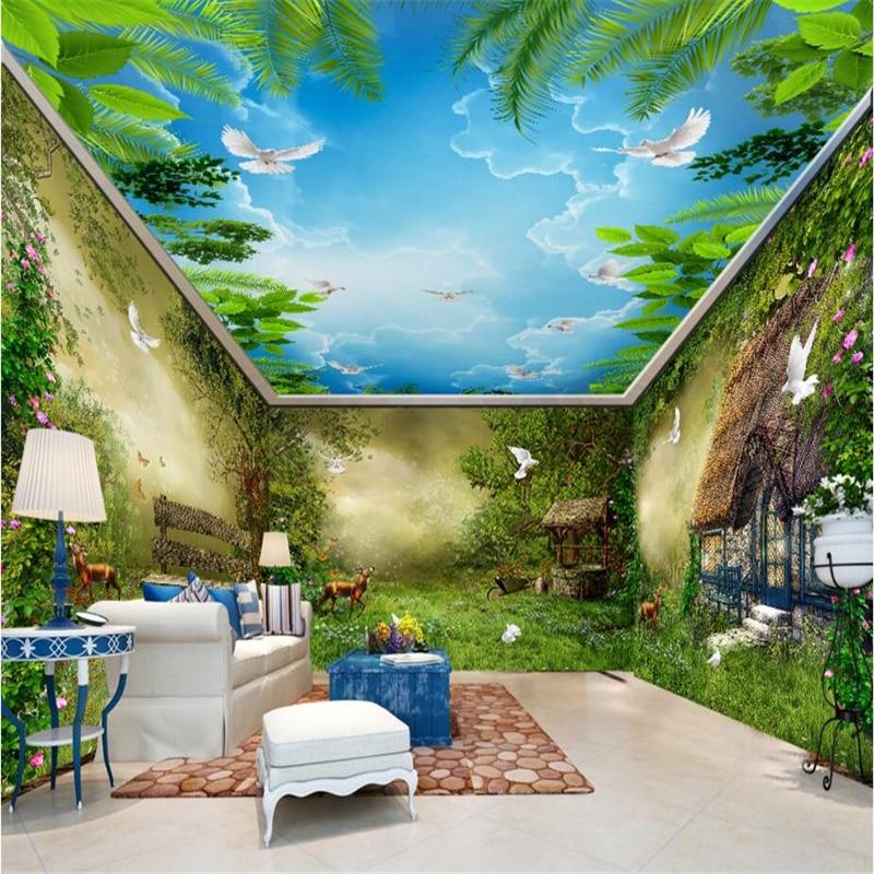 Beibehang dream fairy forest hut flowers birds photo papel for Fairy mural wallpaper
