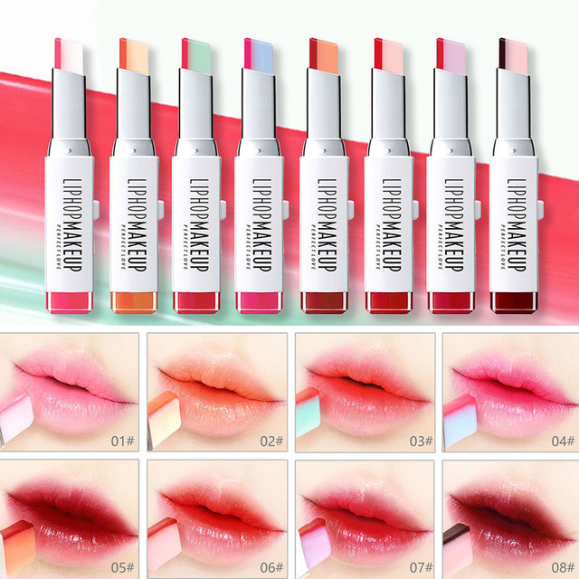 LIPHOP marca crema hidratante labial maquillaje belleza gradiente de color de estilo coreano dos tinte de color labial impermeable duradera de bálsamo de labio