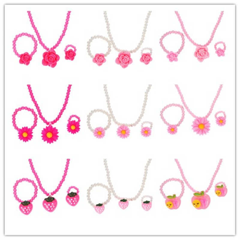 ZOSHI Fashion Simulated-Pearl Beads Kid Jewelry Sets Resin Flower Strawberry Apple Pendant Necklace Bracelet Ring Gift For Child